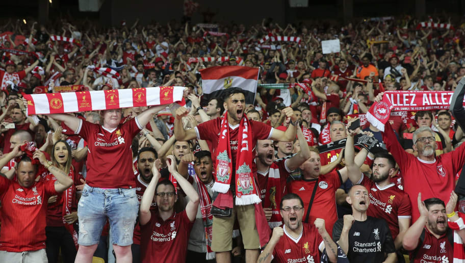 KIEV, UKRAINE - MAY 26: Liverpool fans during the UEFA Champions League final between Real Madrid and Liverpool at NSC Olimpiyskiy Stadium on May 26, 2018 in Kiev, Ukraine. (Photo by MB Media/Getty Images)