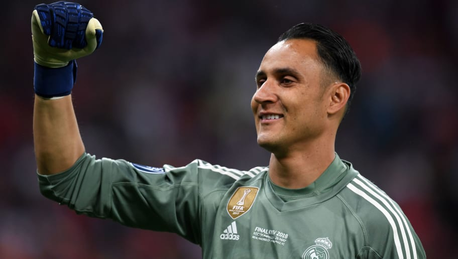 KIEV, UKRAINE - MAY 26: Keylor Navas of Real Madrid celebrates after the UEFA Champions League final between Real Madrid and Liverpool at NSC Olimpiyskiy Stadium on May 26, 2018 in Kiev, Ukraine. (Photo by Etsuo Hara/Getty Images)