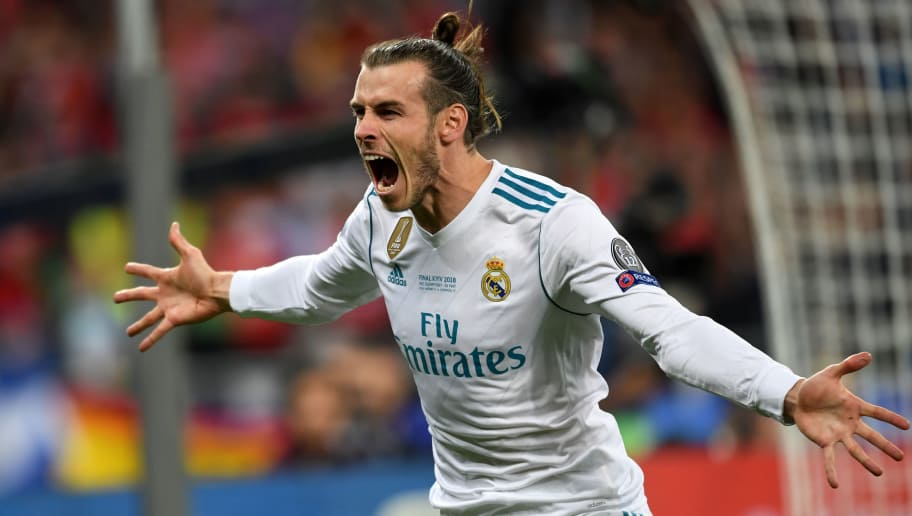 KIEV, UKRAINE - MAY 26: Gareth Bale of Real Madrid celebrates scoring his side's second goal during the UEFA Champions League final between Real Madrid and Liverpool at NSC Olimpiyskiy Stadium on May 26, 2018 in Kiev, Ukraine. (Photo by Etsuo Hara/Getty Images)