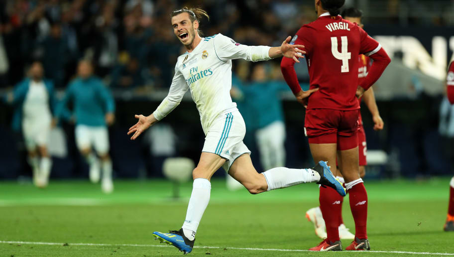 KIEV, UKRAINE - MAY 26: Gareth Bale of Real Madrid celebrates after scoring a goal to make it 3-1 during the UEFA Champions League final between Real Madrid and Liverpool on May 26, 2018 in Kiev, Ukraine. (Photo by Matthew Ashton - AMA/Getty Images)