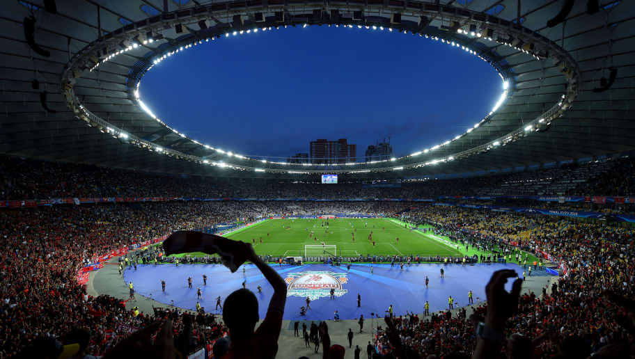 KIEV, UKRAINE - MAY 26:  General view inside the stadium prior to the UEFA Champions League Final between Real Madrid and Liverpool at NSC Olimpiyskiy Stadium on May 26, 2018 in Kiev, Ukraine.  (Photo by Mike Hewitt/Getty Images)