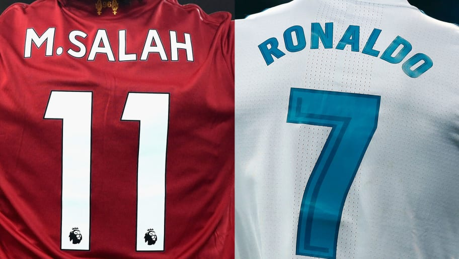 FILE PHOTO (EDITORS NOTE: COMPOSITE OF IMAGES - Image numbers 879097616 (L) and 917598122) In this composite image a comparision has been made between Mohamed Salah of Liverpool and Cristiano Ronaldo of Real Madrid CF.   Real Madrid and Liverpool meet in the UEFA Champions League Final on May 26, 2018 at the NSC Olimpiyskiy Stadium in Kiev, Ukraine. ***LEFT IMAGE*** LIVERPOOL, ENGLAND - NOVEMBER 25: Mohamed Salah of Liverpool celebrates scoring his sides first goal during the Premier League match between Liverpool and Chelsea at Anfield on November 25, 2017 in Liverpool, England. (Photo by Shaun Botterill/Getty Images) ***RIGHT IMAGE*** MADRID, SPAIN - FEBRUARY 10: Cristiano Ronaldo of Real Madrid CF reacts during the La Liga match between Real Madrid CF and Real Sociedad de Futbol at Estadio Santiago Bernabeu on February 10, 2018 in Madrid, Spain. (Photo by Gonzalo Arroyo Moreno/Getty Images)