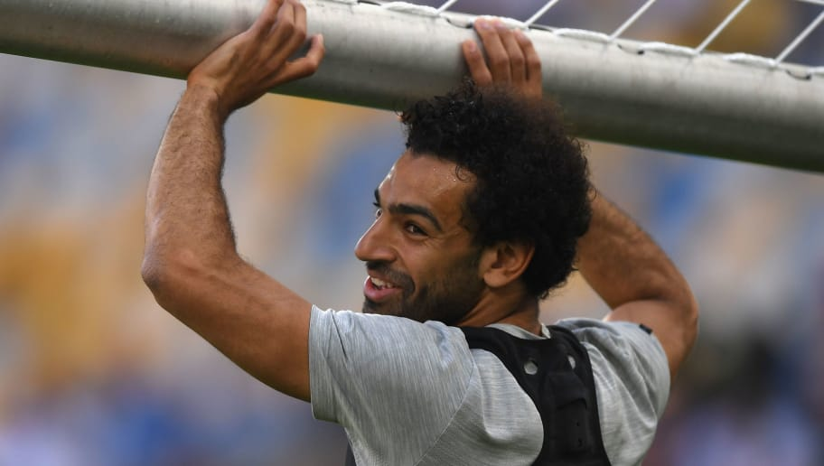 KIEV, UKRAINE - MAY 25:  Mohamed Salah of Liverpool carries the goal during a Liverpool training session ahead of the UEFA Champions League Final against Real Madrid at NSC Olimpiyskiy Stadium on May 25, 2018 in Kiev, Ukraine.  (Photo by Shaun Botterill/Getty Images)