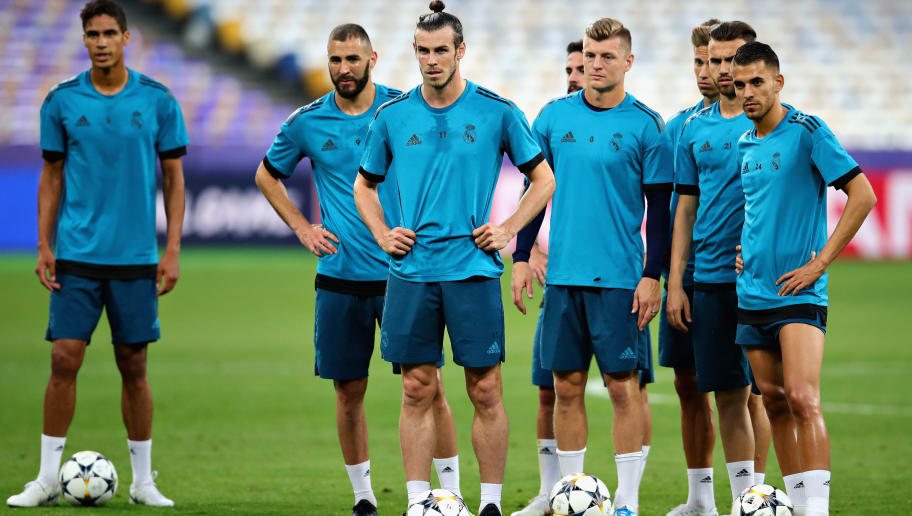 KIEV, UKRAINE - MAY 25: The Real Madrid squad takes part in a training session prior to the UEFA Champions League final between Real Madrid and Liverpool at the NSC Olimpiyskiy on May 25, 2018 in Kiev Ukraine.  (Photo by Chris Brunskill Ltd/Getty Images)