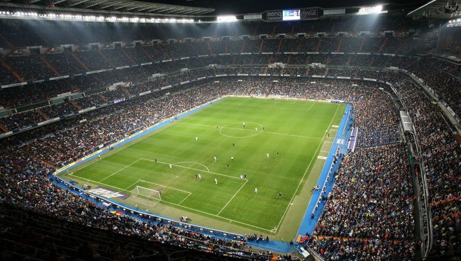 MADRID, SPAIN - NOVEMBER 18:  Aerial view of the Santiago Bernabeu stadium the Primera Liga match between Real Madrid and Racing Santander on November 18, 2006 in Madrid, Spain.  (Photo by Denis Doyle/Getty Images)