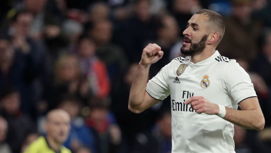 MADRID, SPAIN - DECEMBER 15: Karim Benzema of Real Madrid celebrates 1-0  during the La Liga Santander  match between Real Madrid v Rayo Vallecano at the Santiago Bernabeu on December 15, 2018 in Madrid Spain (Photo by David S. Bustamante/Soccrates/Getty Images)