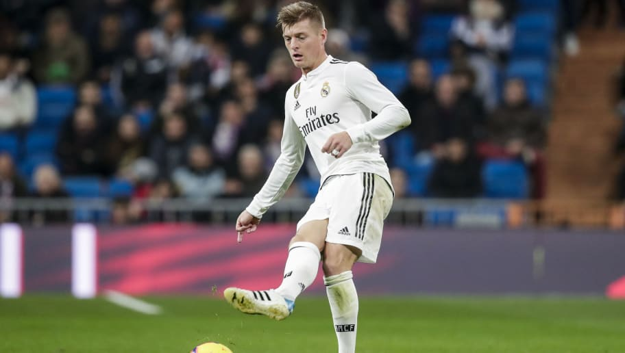 MADRID, SPAIN - DECEMBER 15: Toni Kroos of Real Madrid during the La Liga Santander  match between Real Madrid v Rayo Vallecano at the Santiago Bernabeu on December 15, 2018 in Madrid Spain (Photo by David S. Bustamante/Soccrates/Getty Images)