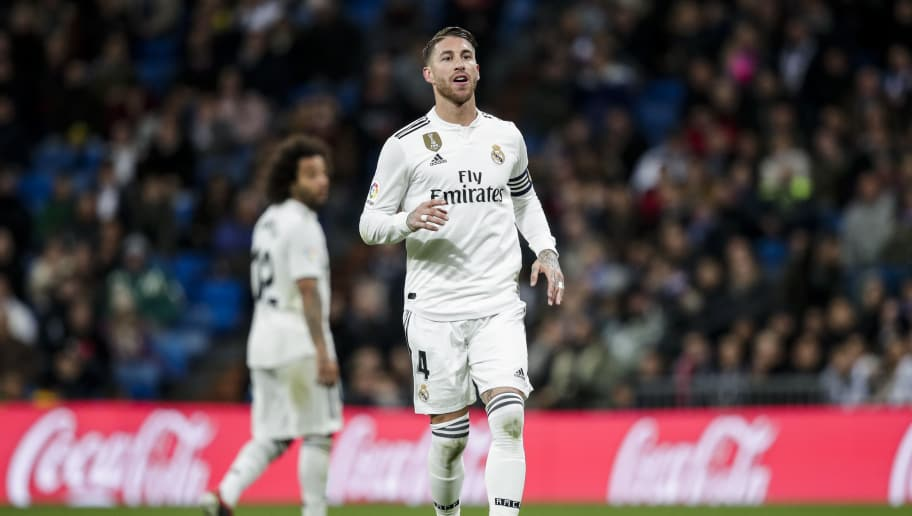 MADRID, SPAIN - DECEMBER 15: (L-R) Marcelo of Real Madrid, Sergio Ramos of Real Madrid during the La Liga Santander  match between Real Madrid v Rayo Vallecano at the Santiago Bernabeu on December 15, 2018 in Madrid Spain (Photo by David S. Bustamante/Soccrates/Getty Images)