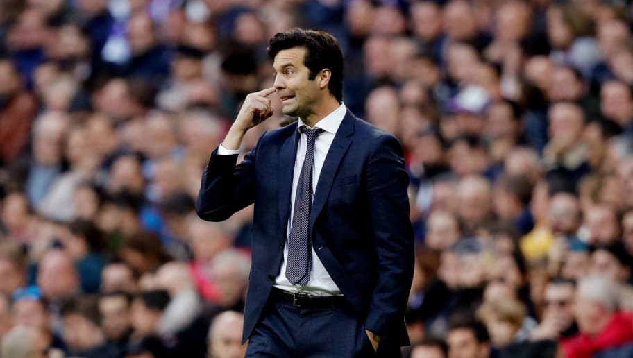 MADRID, SPAIN - NOVEMBER 3: coach Santiago Solari of Real Madrid during the La Liga Santander  match between Real Madrid v Real Valladolid at the Santiago Bernabeu on November 3, 2018 in Madrid Spain (Photo by David S. Bustamante/Soccrates/Getty Images)