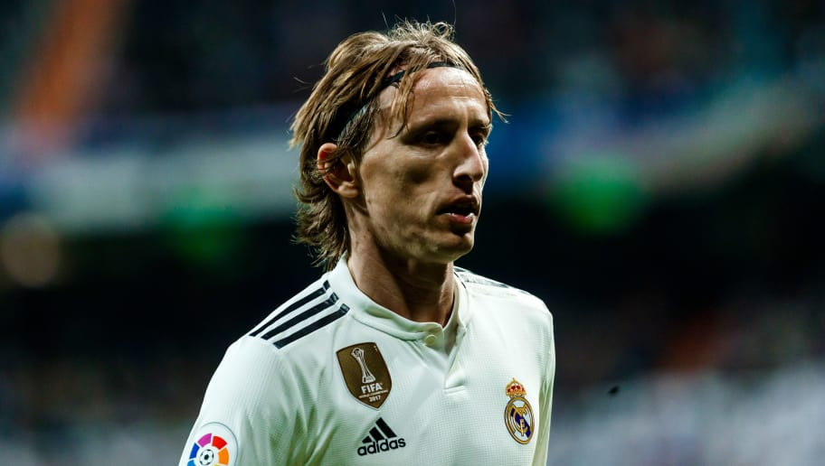 MADRID, SPAIN - DECEMBER 01: Luka Modric of Real Madrid looks on during the La Liga match between Real Madrid v Valencia at the Santiago Bernabeu on December 1, 2018 in Madrid Spain. (Photo by TF-Images/TF-Images via Getty Images)