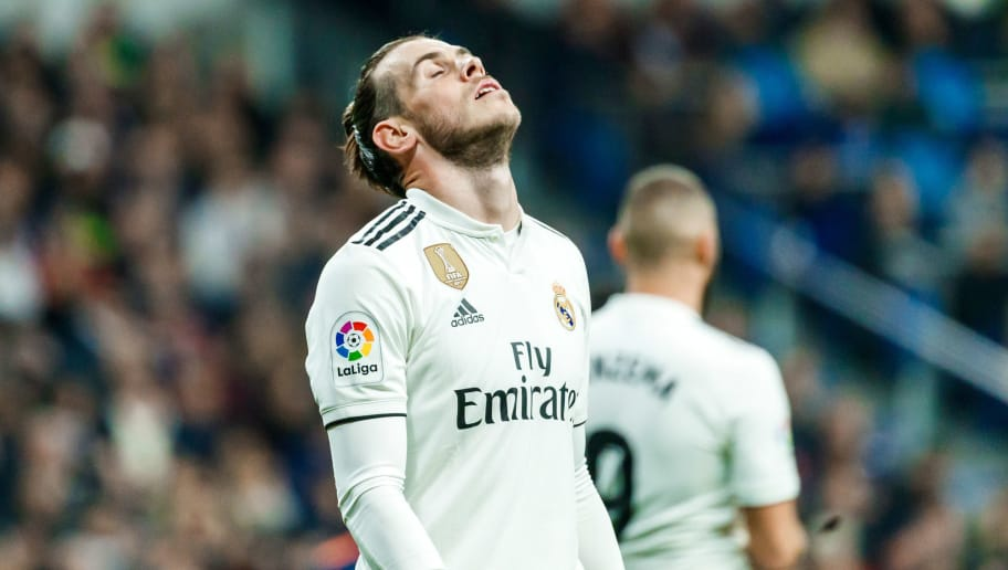 MADRID, SPAIN - DECEMBER 01: Gareth Bale of Real Madrid looks dejeceted during the La Liga match between Real Madrid v Valencia at the Santiago Bernabeu on December 1, 2018 in Madrid Spain. (Photo by TF-Images/TF-Images via Getty Images)