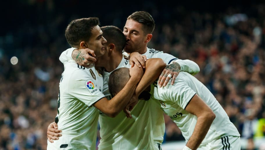MADRID, SPAIN - DECEMBER 01: Lucas Vázquez of Real Madrid celebrates his goal with team mates during the La Liga match between Real Madrid v Valencia at the Santiago Bernabeu on December 1, 2018 in Madrid Spain. (Photo by TF-Images/TF-Images via Getty Images)