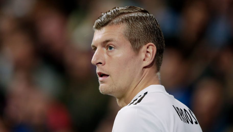 MADRID, SPAIN - OCTOBER 23: Toni Kroos of Real Madrid during the UEFA Champions League  match between Real Madrid v Viktoria Plzen at the Santiago Bernabeu on October 23, 2018 in Madrid Spain (Photo by David S. Bustamante/Soccrates /Getty Images)