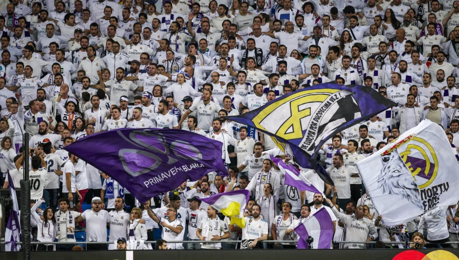 MADRID, SPAIN - OCTOBER 23: supporters of Real Madrid during the UEFA Champions League  match between Real Madrid v Viktoria Plzen at the Santiago Bernabeu on October 23, 2018 in Madrid Spain (Photo by David S. Bustamante/Soccrates/Getty Images)