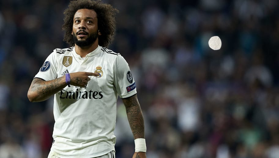 MADRID, SPAIN - OCTOBER 23:  Marcelo of Real Madrid celebrates after scoring his side's second goal during the Group G match of the UEFA Champions League between Real Madrid  and Viktoria Plzen at Bernabeu on October 23, 2018 in Madrid, Spain.  (Photo by Quality Sport Images/Getty Images)
