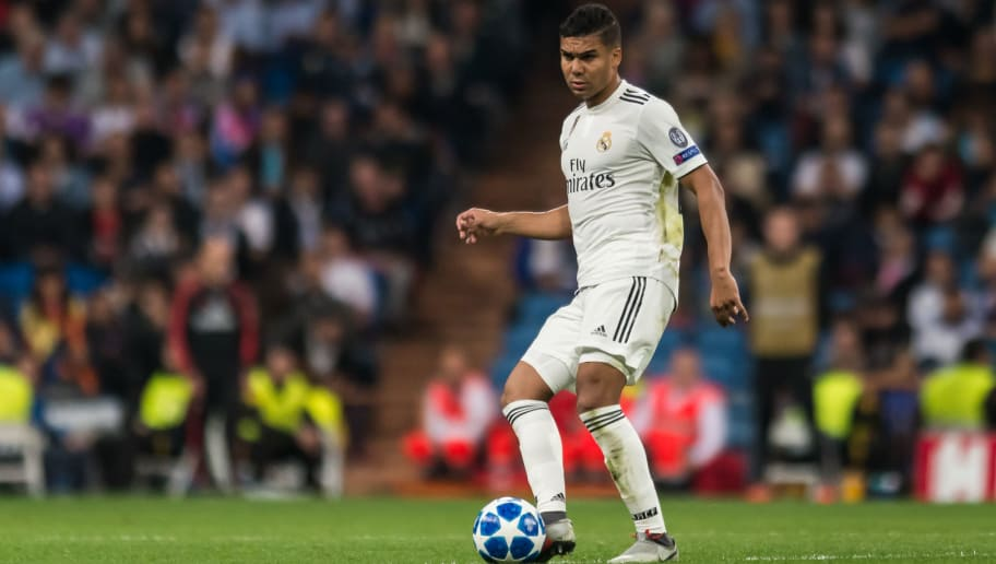 MADRID, SPAIN - OCTOBER 23: Casemiro of Real Madrid controls the ball during the UEFA Champions League Group G match between Real Madrid and Viktoria Plzen at Bernabeu on October 23, 2018 in Madrid, Spain. (Photo by TF-Images/Getty Images)