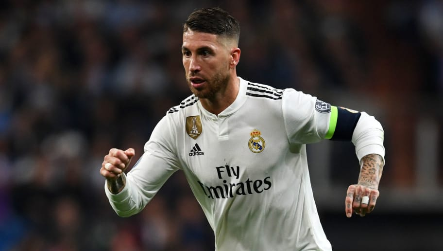 MADRID, SPAIN - OCTOBER 23:  Sergio Ramos of Real Madrid in action during the Group G match of the UEFA Champions League between Real Madrid  and Viktoria Plzen at Bernabeu on October 23, 2018 in Madrid, Spain.  (Photo by Etsuo Hara/Getty Images)