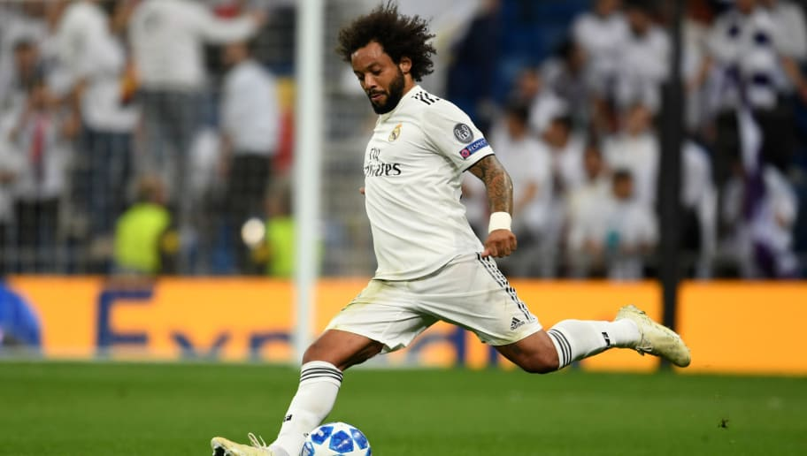 MADRID, SPAIN - OCTOBER 23:  Marcelo of Real Madrid in action during the Group G match of the UEFA Champions League between Real Madrid  and Viktoria Plzen at Bernabeu on October 23, 2018 in Madrid, Spain.  (Photo by Etsuo Hara/Getty Images)