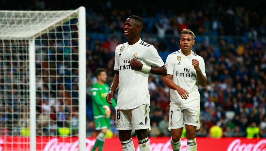 MADRID, SPAIN - DECEMBER 06:  Vinicius Junior of Real Madrid celebrates after scoring his team's fifth goal wth Mariano Diaz during the Copa del Rey fourth round match between Real Madrid and Melilla at Estadio Bernabeu on December 6, 2018 in Madrid, Spain.  (Photo by Gonzalo Arroyo Moreno/Getty Images)