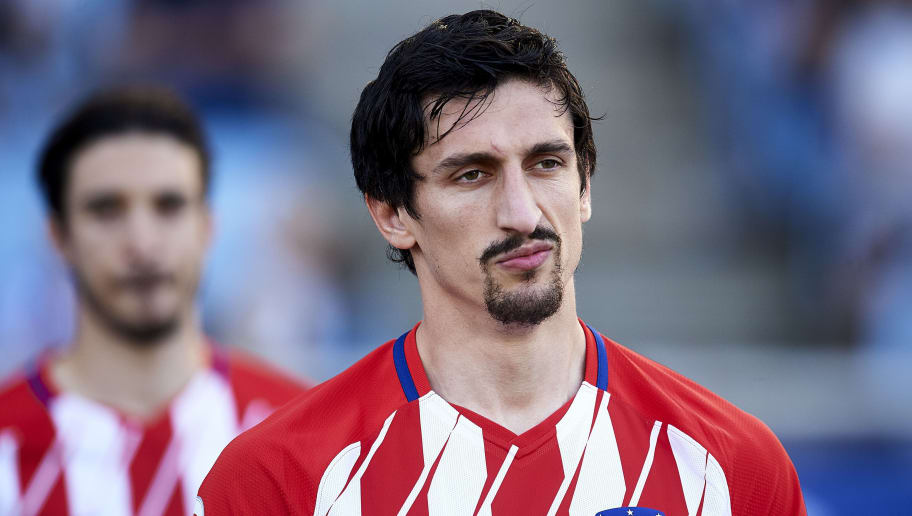 SAN SEBASTIAN, SPAIN - APRIL 19:  Stefan Savic of Atletico Madrid looks on prior to the start the La Liga match between Real Sociedad de Futbol and Atletico Madrid at Estadio Anoeta on April 19, 2018 in San Sebastian, Spain.  (Photo by Juan Manuel Serrano Arce/Getty Images)