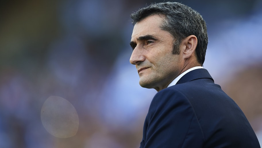 SAN SEBASTIAN, SPAIN - SEPTEMBER 15:  Head Coach of FC Barcelona Ernesto Valverde looks on during the La Liga match between Real Sociedad and FC Barcelona at Estadio Anoeta on September 15, 2018 in San Sebastian, Spain.  (Photo by Aitor Alcalde/Getty Images)