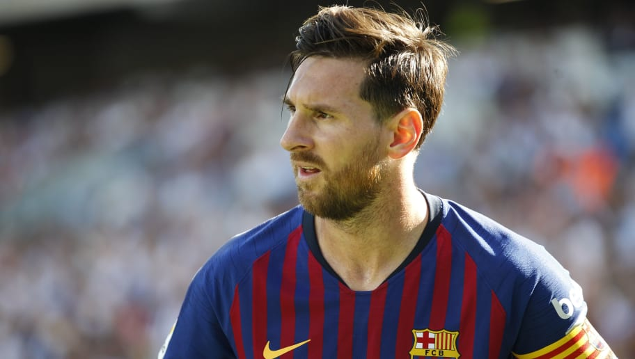 SAN SEBASTIAN, SPAIN - SEPTEMBER 15: Lionel Andres Messi of FC Barcelona  during the La Liga Santander  match between Real Sociedad v FC Barcelona at the Estadio Anoeta on September 15, 2018 in San Sebastian Spain (Photo by David S. Bustamante/Soccrates/Getty Images)