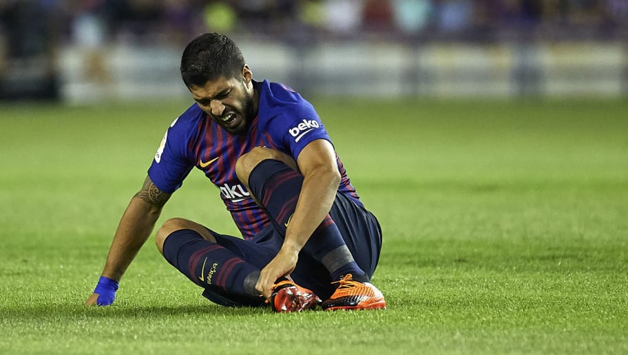 VALLADOLID, SPAIN - AUGUST 25:  Luis Suarez of FC Barcelona reacts during the La Liga match between Real Valladolid CF and FC Barcelona at Estadio Jose Zorrilla on August 25, 2018 in Valladolid, Spain.  (Photo by Quality Sport Images/Getty Images)