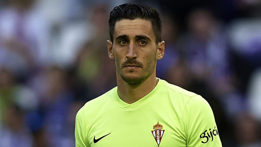 VALLADOLID, SPAIN - JUNE 07:  Diego Marino goalkeeper of Real Sporting de Gijon looks on during the La Liga 123 play off match between Real Valladolid and Real Sporting de Gijon at Estadio Jose Zorrilla on June 7, 2018 in Valladolid, Spain. (Photo by Quality Sport Images/Getty Images)