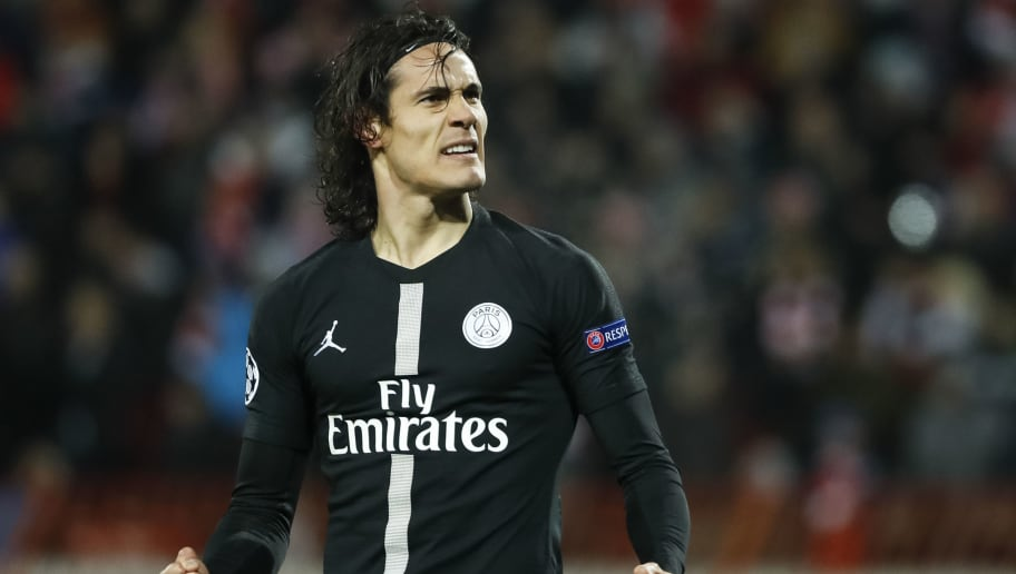 BELGRADE, SERBIA - DECEMBER 11: Edinson Cavani of Paris Saint-Germain celebrates after scoring a goal during the UEFA Champions League Group C match between Red Star Belgrade and Paris Saint-Germain at Rajko Mitic Stadium on December 11, 2018 in Belgrade, Serbia. (Photo by Srdjan Stevanovic/Getty Images)