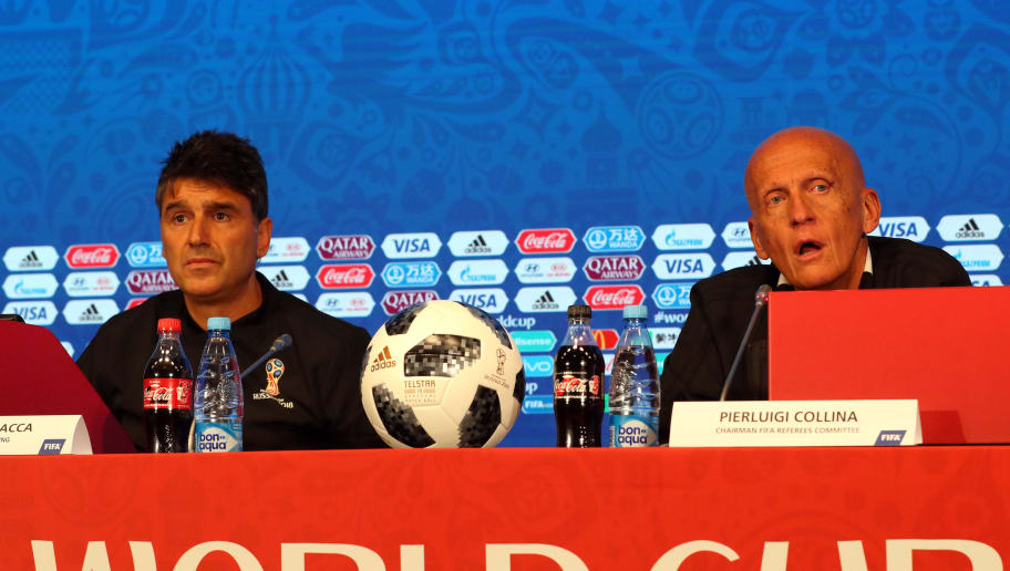 MOSCOW, RUSSIA - JUNE 12: Massimo Busacca director of FIFA refereeing and Perluigi Collina, Chairman of FIFA referees committee during a press conference on Referees Media Day at Luzhniki Stadium on June 12, 2018 in Moscow, Russia. (Photo by Catherine Ivill/Getty Images)
