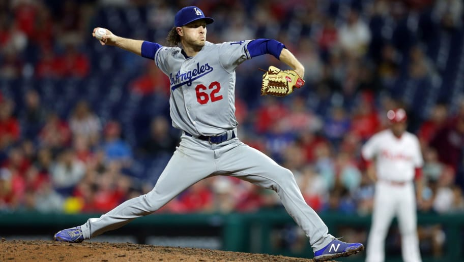 PHILADELPHIA, PA - JULY 24: Erik Goeddel #62 of the Los Angeles Dodgers throws a pitch during a game against the Philadelphia Phillies at Citizens Bank Park on July 24, 2018 in Philadelphia, Pennsylvania. The Phillies won 7-4 in 16 innings. (Photo by Hunter Martin/Getty Images)