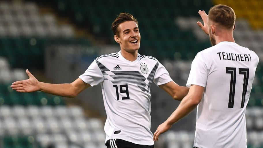DUBLIN, IRELAND - SEPTEMBER 11: Cedric Teuchert of Germany celebrates after scoring his sides third goal with Florian Neuhaus during the 2019 UEFA European Under-21 Championship Qualifier between Republic of Ireland U21 and Germany U21 on September 11, 2018 in Dublin, Ireland. (Photo by Harry Murphy/Bongarts/Getty Images)
