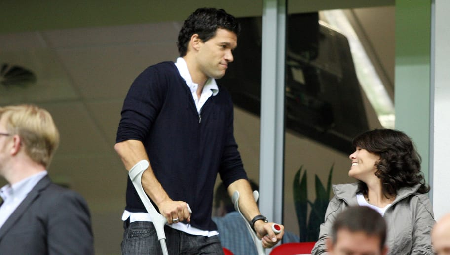 RESTRICTIONS / EMBARGO - ONLINE CLIENTS MAY USE UP TO SIX IMAGES DURING EACH MATCH WITHOUT THE AUTHORISATION OF THE DFL. NO MOBILE USE DURING THE MATCH AND FOR A FURTHER TWO HOURS AFTERWARDS IS PERMITTED WITHOUT THE AUTHORISATION OF THE DFL. Leverkusen`s injured Michael Ballack arrives at the stadium for the German first division Bundesliga football match Bayer 04 Leverkusen vs Eintracht Frankfurt at the BayArena in the western German city of Leverkusen on September 22, 2010. AFP PHOTO PATRIK STOLLARZ (Photo credit should read PATRIK STOLLARZ/AFP/Getty Images)
