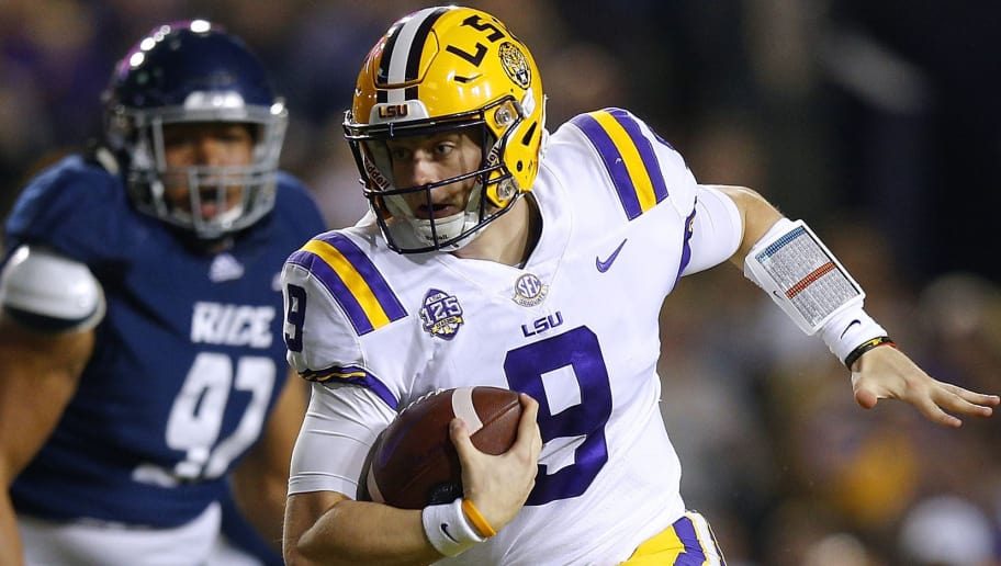 BATON ROUGE, LOUISIANA - NOVEMBER 17: Joe Burrow #9 of the LSU Tigers runs with the ball during the first half against the Rice Owls at Tiger Stadium on November 17, 2018 in Baton Rouge, Louisiana. (Photo by Jonathan Bachman/Getty Images)