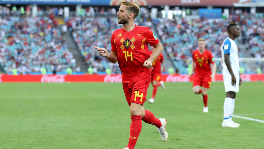 SOCHI, RUSSIA - JUNE 18:  Dries Mertens of Belgium celebrates after scoring his team's first goal during the 2018 FIFA World Cup Russia group G match between Belgium and Panama at Fisht Stadium on June 18, 2018 in Sochi, Russia.  (Photo by Richard Heathcote/Getty Images)