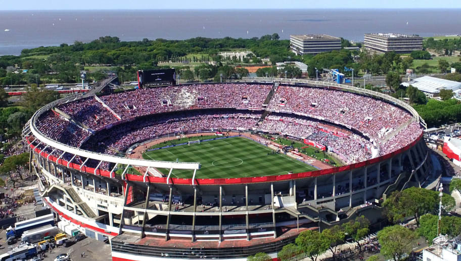 BUENOS AIRES, ARGENTINA - NOVEMBER 24: Aerial view of the Monumental Stadium prior to the second leg final match of Copa CONMEBOL Libertadores 2018 between River Plate and Boca Juniors at Estadio Monumental Antonio Vespucio Liberti on November 24, 2018 in Buenos Aires, Argentina. (Photo by Adrian Farias/Getty Images/Getty Images)