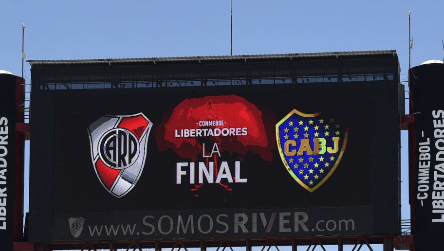 BUENOS AIRES, ARGENTINA - NOVEMBER 25: General view of Monumental Stadium prior the second leg of the  final of Copa CONMEBOL Libertadores 2018 between River Plate and Boca Juniors at Estadio Monumental Antonio Vespucio Liberti on November 25, 2018 in Buenos Aires, Argentina. The match was suspended yesterday due to the attacks suffered by players of Boca Juniors on their arrival to the stadium and was rescheduled for today. (Photo by Jam Media/Getty Images)