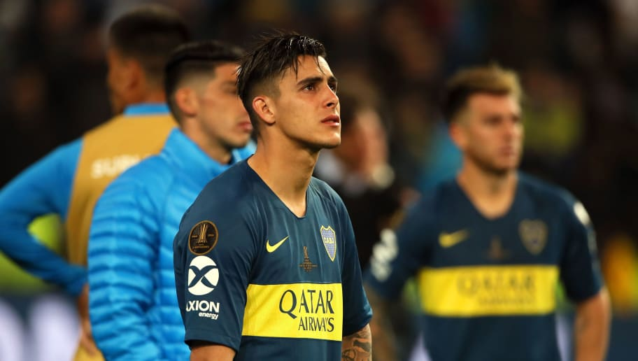 MADRID, SPAIN - DECEMBER 09:   Cristian Pavon of Boca Juniors looks on dejectedly at the end of the final match of Copa CONMEBOL Libertadores 2018 between Boca Juniors and River Plate at Estadio Santiago Bernabeu on December 9, 2018 in Madrid, Spain. Due to the violent episodes of November 24th at River Plate stadium, CONMEBOL rescheduled the game and moved it out of Americas for the first time in history. (Photo by Matthew Ashton - AMA/Getty Images)