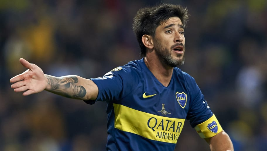 MADRID, SPAIN - DECEMBER 09: Pablo Perez of Boca Juniors reacts during the second leg of the final match of Copa CONMEBOL Libertadores 2018 between Boca Juniors and River Plate at Estadio Santiago Bernabeu on December 09, 2018 in Madrid, Spain. Due to the violent episodes of November 24th at River Plate stadium, CONMEBOL rescheduled the game and moved it out of Americas for the first time in history. (Photo by Quality Sport Images/Getty Images,)