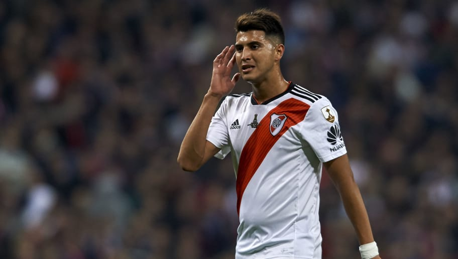 MADRID, SPAIN - DECEMBER 09: Exequiel Palacios of River Plate reacts during the second leg of the final match of Copa CONMEBOL Libertadores 2018 between Boca Juniors and River Plate at Estadio Santiago Bernabeu on December 09, 2018 in Madrid, Spain. Due to the violent episodes of November 24th at River Plate stadium, CONMEBOL rescheduled the game and moved it out of Americas for the first time in history. (Photo by Quality Sport Images/Getty Images,)