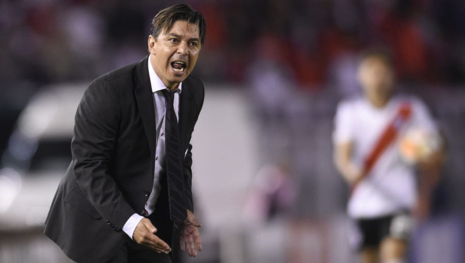 BUENOS AIRES, ARGENTINA - OCTOBER 02: Marcelo Gallardo coach of River Plate reacts during a quarter final second leg match of Copa CONMEBOL LIbertadores 2018 between River Plate and Independiente at Estadio Monumental Antonio Vespucio Liberti on October 2, 2018 in Buenos Aires, Argentina. (Photo by Gustavo Garello/Jam Media/Getty Images)