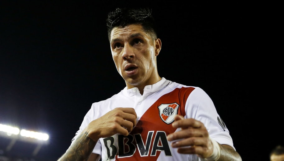 BUENOS AIRES, ARGENTINA - MAY 14: Enzo Perez of River Plate leaves the field after the match between River Plate and San Lorenzo as part of Superliga 2017/18 at Estadio Monumental Antonio Vespucio Liberti on May 14, 2018 in Buenos Aires, Argentina. (Photo by Gabriel Rossi/Getty Images)