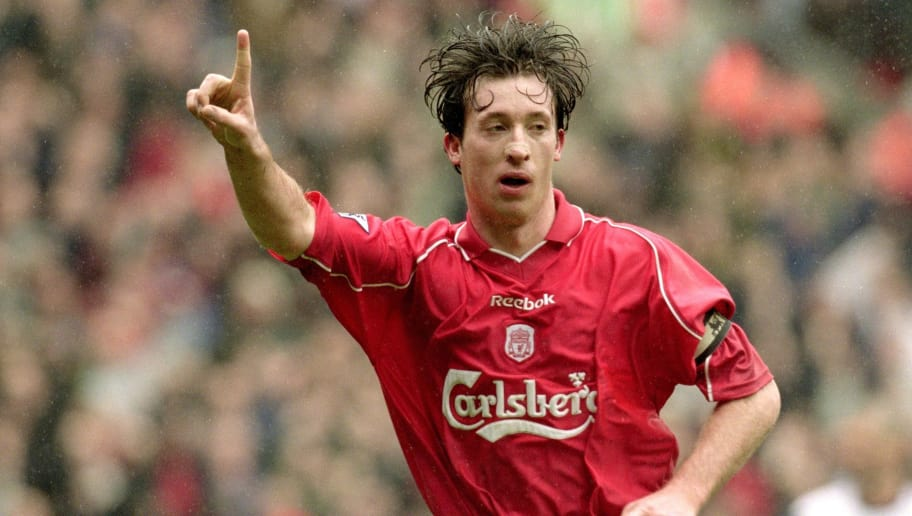 31 Mar 2001:  Robbie Fowler of Liverpool celebrates scoring the second goal during the FA Carling Premiership match against Manchester United played at Anfield, in Liverpool, England. Liverpool won the match 2-0. \ Mandatory Credit: Michael Steele /Allsport