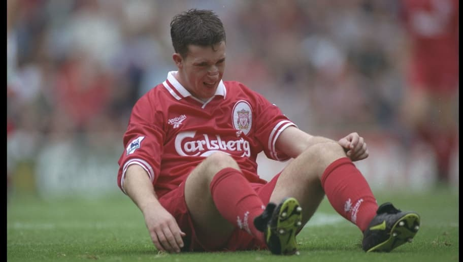 24 Aug 1996:  Robbie Fowler of Liverpool grimices in pain during the Premier League match between Liverpool and Sunderland at Anfield in Liverpool. Mandatory Credit: Clive Brunskill/Allsport
