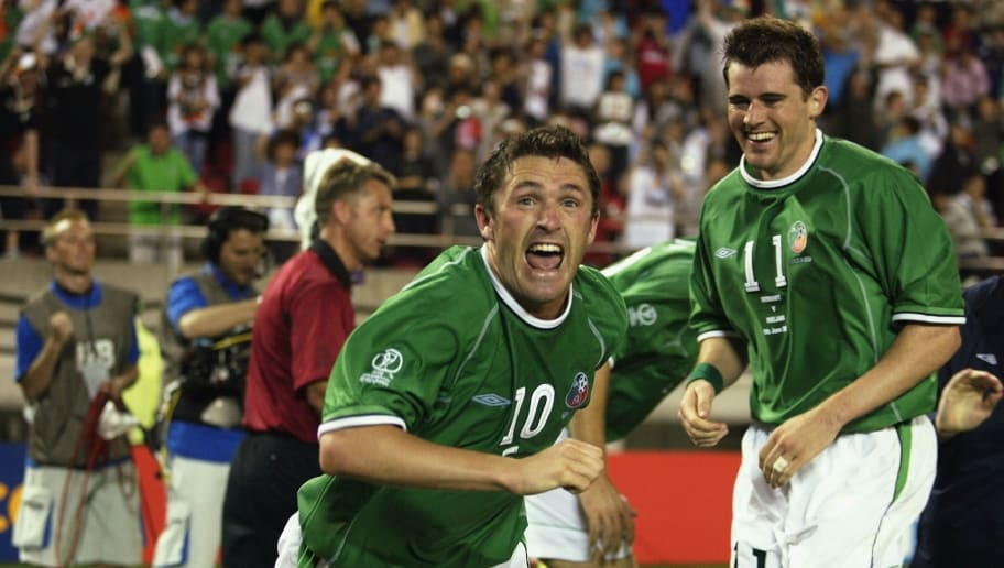 Robbie Keane of  Ireland celebrates