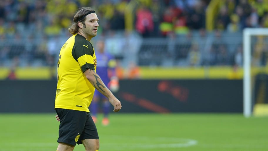 DORTMUND, GERMANY - SEPTEMBER 07: Torsten Frings looks on during the Roman Weidenfeller Farewell Match between BVB Allstars and Roman and Friends at Signal Iduna Park on September 7, 2018 in Dortmund, Germany. (Photo by TF-Images/Getty Images)