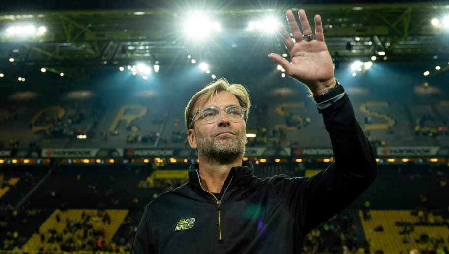 DORTMUND, GERMANY - SEPTEMBER 07: Head coach Juergen Klopp gestures during the Roman Weidenfeller Farewell Match between BVB Allstars and Roman and Friends at Signal Iduna Park on September 7, 2018 in Dortmund, Germany. (Photo by TF-Images/Getty Images)