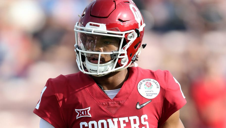 PASADENA, CA - JANUARY 01: Kyler Murray #1 of the Oklahoma Soonersrs is seen in the 2018 College Football Playoff Semifinal at the Rose Bowl Game presented by Northwestern Mutual at the Rose Bowl on January 1, 2018 in Pasadena, California.  (Photo by Matthew Stockman/Getty Images)