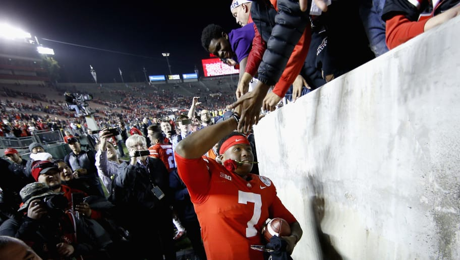 PASADENA, CA - JANUARY 01:  Dwayne Haskins #7 of the Ohio State Buckeyes celebrates after winning in the Rose Bowl Game presented by Northwestern Mutual at the Rose Bowl on January 1, 2019 in Pasadena, California.  (Photo by Sean M. Haffey/Getty Images)