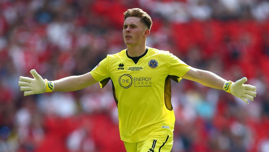 LONDON, ENGLAND - MAY 27:  Dean Henderson of Shrewsbury Town celebrates as Alex Rodman of Shrewsbury Town scores his sides first goal during the Sky Bet League One Play Off Final between Rotherham United and Shrewsbury Town at Wembley Stadium on May 27, 2018 in London, England.  (Photo by Jordan Mansfield/Getty Images)